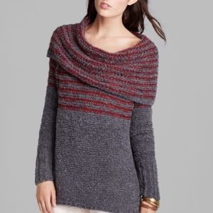 Free People Gray and Red Striped Cowl Sweater